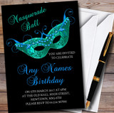 Black Blue Green Masquerade Ball Customised Party Invitations