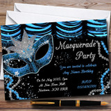 Blue & Black Mask Masquerade Ball Customised Party Invitations