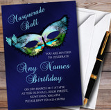 Butterfly Blue Masquerade Ball Customised Party Invitations