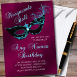 Deep Pink Masquerade Ball Customised Party Invitations