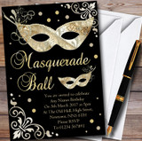 Gold & Black Masquerade Ball Customised Party Invitations