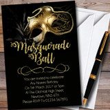Golden Glitter Mask Masquerade Ball Customised Party Invitations