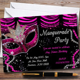 Pink & Black Mask Masquerade Ball Customised Party Invitations