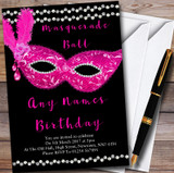 Pink & Black Masquerade Ball Customised Party Invitations