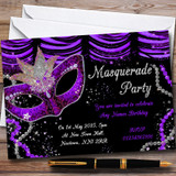 Purple & Black Mask Masquerade Ball Customised Party Invitations