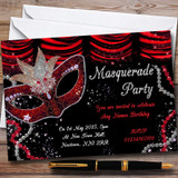 Red & Black Mask Masquerade Ball Customised Party Invitations