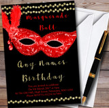 Red & Gold Masquerade Ball Customised Party Invitations
