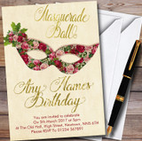 Red Roses Gold Masquerade Ball Customised Party Invitations