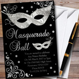 Silver & Black Masquerade Ball Customised Party Invitations