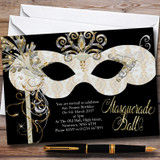 White & Gold Masquerade Ball Customised Party Invitations