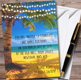Palm Tree Beach Lights Customised Party Invitations