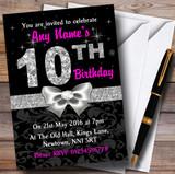 Pink Black Silver Diamond 10Th Birthday Party Customised Invitations