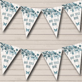 Shabby Chic Vintage Wood Teal Birthday Party Bunting