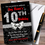 Red Black Silver Diamond 10Th Birthday Party Customised Invitations
