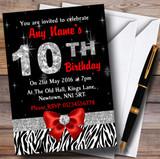 Red Diamond And Zebra Print 10Th Birthday Party Customised Invitations