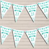 Any Age Birthday 18Th 21st 30th 40th 50th 60th Aqua Blue Birthday Bunting