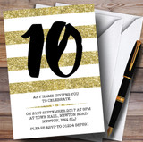 Glitter Gold & White Striped 10th Customised Birthday Party Invitations