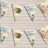 Vintage Nautical Map Shells Sea Birthday Bunting