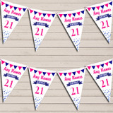 Any Age Birthday 18Th 21st 30th 40th 50th 60th Navy Blue & Hot Pink Bunting