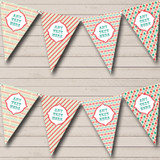 Circus Stripes Green Red Carnival Fete Street Party Bunting