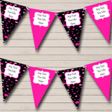 Black And Pink Stars Carnival Fete Street Party Bunting