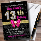 Pink Black Gold Diamond 13Th Birthday Party Customised Invitations