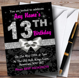 Pink Black Silver Diamond 13Th Birthday Party Customised Invitations