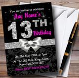 Pink Black Silver Diamond 13Th Birthday Party Customised Invitations