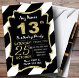 Black White Diagonal Stripes Gold 13th Customised Birthday Party Invitations