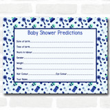 Boys Blue & Green Baby Shower Games Predictions Cards