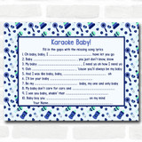 Boys Blue & Green Baby Shower Games Song Lyric Karaoke Cards