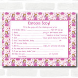 Girl Fairy Baby Shower Games Song Lyric Karaoke Cards