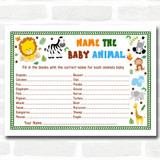 Jungle Baby Shower Games Baby Animal Cards