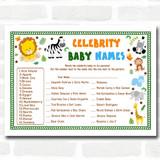 Jungle Baby Shower Games Celebrity Baby Name Cards