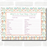 Neutral Hot Air Balloons Baby Shower Games What's in Your Bag Purse Cards