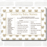 Neutral Teddys Baby Shower Games Celebrity Baby Name Cards