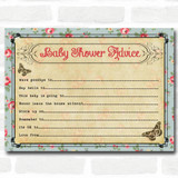 Shabby Chic Tea Party Baby Shower Games Advice To Parents Cards