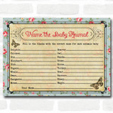 Shabby Chic Tea Party Baby Shower Games Baby Animal Cards