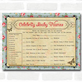 Shabby Chic Tea Party Baby Shower Games Celebrity Baby Name Cards