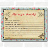 Shabby Chic Tea Party Baby Shower Games Guess Who Game Cards