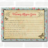 Shabby Chic Tea Party Baby Shower Games Nursery Rhyme Quiz Cards