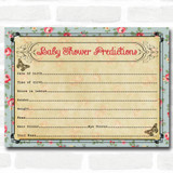 Shabby Chic Tea Party Baby Shower Games Predictions Cards