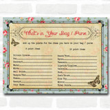 Shabby Chic Tea Party Baby Shower Games What's in Your Bag Purse Cards