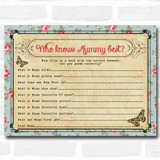 Shabby Chic Tea Party Baby Shower Games Who Knows Mum Best Cards