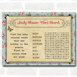 Shabby Chic Tea Party Baby Shower Games Word Search Cards