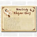 Vintage Baby Shower Games Nursery Rhyme Quiz Cards