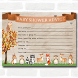 Woodland Animal Neutral Baby Shower Games Advice To Parents Cards