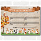 Woodland Animal Neutral Baby Shower Games Baby Animal Cards