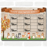 Woodland Animal Neutral Baby Shower Games Bingo Cards