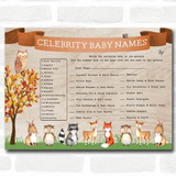 Woodland Animal Neutral Baby Shower Games Celebrity Baby Name Cards